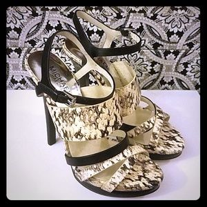 MICHAEL KORS Leather Snake Print Strappy Heels